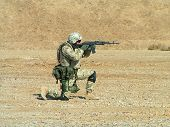 Shooting Soldier On Desert