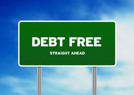pic of debt free  - Green Debt Free highway sign on Cloud Background - JPG