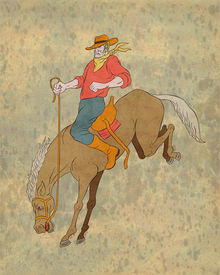 stock photo of bucking bronco  - illustration of rodeo cowboy riding bucking horse bronco done in cartoon style - JPG