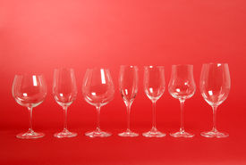 foto of wine-glass  - Seven crystal wine glasses of all shapes - JPG