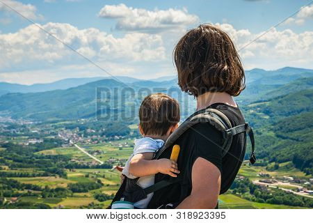 poster of Traveling Outdoor Hiking Walking Nature. Mother And Child Traveling In Nature. Travel Outdoor Backpa