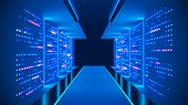 Data Center Abstract Background. Interior Of Server Room. Digital Information Warehouse. Web Hosting poster