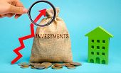 Money Bag With The Word Investments, Up Arrow And Wooden House. The Concept Of Investing In Real Est poster