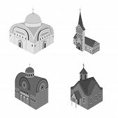 Vector Illustration Of Landmark And Clergy Icon. Collection Of Landmark And Religion Stock Vector Il poster