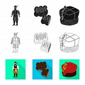 Isolated Object Of Traditional And Tour Icon. Set Of Traditional And Landmarks Vector Icon For Stock poster