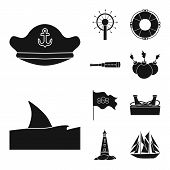 Vector Illustration Of Journey And Seafaring Sign. Collection Of Journey And Adventure Vector Icon F poster