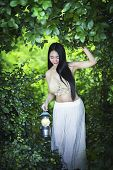 Beautiful Girl With Lanterns In The Forest. poster