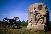 stock photo of yanks  - Napoleon artillery battery and monument near Angle Gettysburg National Historical Battlefield Pennsylvania - JPG