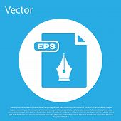 Blue Eps File Document. Download Eps Button Icon Isolated On Blue Background. Eps File Symbol. White poster