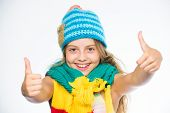 Kid Wear Warm Soft Knitted Blue Hat And Long Scarf. Warm Woolen Accessories. Girl Long Hair Happy Fa poster