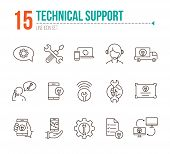 Technical Support Line Icon Set. Tools, Operator, Smartphone. Digital Gadgets Concept. Can Be Used F poster