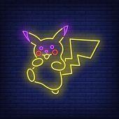 Cute Cartoon Creature Neon Sign. Animal, Alien, Mascot Design. Night Bright Neon Sign, Colorful Bill poster