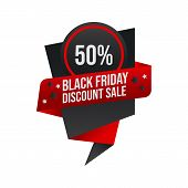 Black Friday Promotion Sale Banner Or Tag With Black And Red Color poster
