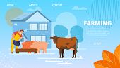 Vector Illustration Livestock Farming Cartoon. In Foreground Cow Stands In Street. Smiling Male Farm poster