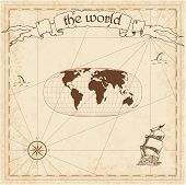 World Pirate Map. Ancient Style Navigation Atlas. Waldo R. Toblers Hyperelliptical Projection. Old  poster