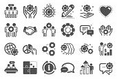 Employees Benefits Icons. Business Strategy, Handshake And People Collaboration. Teamwork, Social Re poster