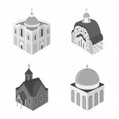 Vector Illustration Of Landmark And Clergy Sign. Set Of Landmark And Religion Vector Icon For Stock. poster