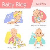 Set Of Baby Illustration. First Year Growth And Activity. poster