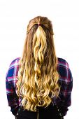 View From Back On Female Brown Hairdo. Woman Having Long Curly Hairstyle With Highlights. poster