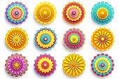 Set Of Beautiful Modern 3d Flowers Isolated On White Background. Collection Of Stylized Colorful Chr poster