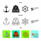 Vector Design Of Journey And Seafaring Icon. Collection Of Journey And Vintage Stock Symbol For Web. poster