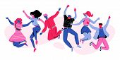Six Happy People Characters Jumping In Air. Modern Faceless People Caracters In Vivid Color. Multiet poster