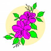 Vector Floral Set.colorful Purple Floral Collection With Leaves And Flowers,drawing Watercolor.color poster