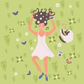 Young Girl With Earbuds Enjoys Music And Dancing Wearing Wild Flowers In Her Hair Flat Vector Illust poster