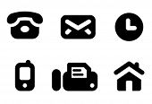 Contact information icon set: phone, mail, work time, mobile, fax and website. Aligned according to