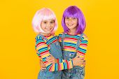 Cheerful Friends In Colorful Wigs. Anime Cosplay Party Concept. Anime Fan. Animation Style Character poster