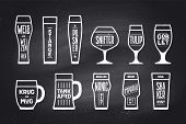 Beer Glassware Types. Poster Or Banner With Different Types Of Glass And Mug For Beer. Chalk Graphic poster