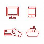 Flat Line Minimal E-commerce Icon Set. Simple Vector E-commerce Icon Set. Isolated E-commerce Icon S poster