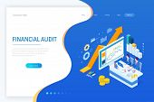 Isometric Web Business Concept Of Financial Administration, Accounting, Analysis, Audit, Financial R poster