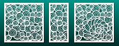 Laser Cut Template Pattern, Vector Set. Metal Cutting Or Wood Carving, Panel Design, Stencil For Fre poster