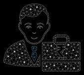Glowing Mesh Rupee Accounter With Glitter Effect. Abstract Illuminated Model Of Rupee Accounter Icon poster
