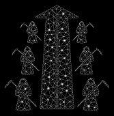 Flare Mesh Scytheman Future Road With Glitter Effect. Abstract Illuminated Model Of Scytheman Future poster
