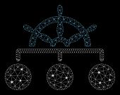 Flare Mesh Ship Wheel Hierarchy With Sparkle Effect. Abstract Illuminated Model Of Ship Wheel Hierar poster