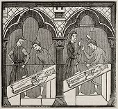 13th century craftsmen in a glass window of Chartres cathedral. By unidentified author, published on