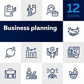 Business Success Line Icon Set. Employee, Businessman, Meeting, Handshake. Human Resource Concept. C poster