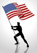 Silhouette Illustration Of A Man Holding The Flag Of The United States Of America, Flag Bearer, Patr poster