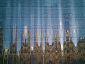 Background Reflection Of Romanesque, Gothic Architecture  In Modern Glass Facade, Avant-garde Archit poster