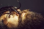 Handsome Sexy Bearded Young Man Hipster With Long Beard And Mustache Has Wet Hair On Serious Hairy F poster