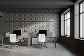 Geometric Pattern Gray Open Space Office Interior poster