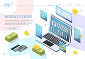 Pop-up Icons Around Laptop. Mobile Forex. Online Banking. E-banking System. Online Payment System. I poster