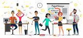 Messy Design Studio, Deadline Meeting, Work Stress Vector Illustration. Cartoon People Hurry Panic.  poster