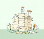 Sketch Of Working Little People With Paper Stack. Doodle Cute Miniature Scene About Paperwork. Hand  poster