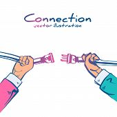 Business Connection Concept. Partnership. Vector Illustration Sketch Design. Businessmen Connecting  poster