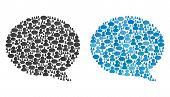 Message Cloud Mosaics Of Chat Clouds And People Symbols. Vector Mosaic In Blue Color Hues. Customers poster