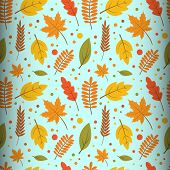 Seamless Pattern Concept Of Autumn Floral Design Vector. Autumn Maple Leaf Seamless Pattern. Fall Le poster