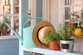Potted Plants, Watering Can And Straw Hat On Light Blue Wooden Veranda Railing Outdoors. Gardening T poster